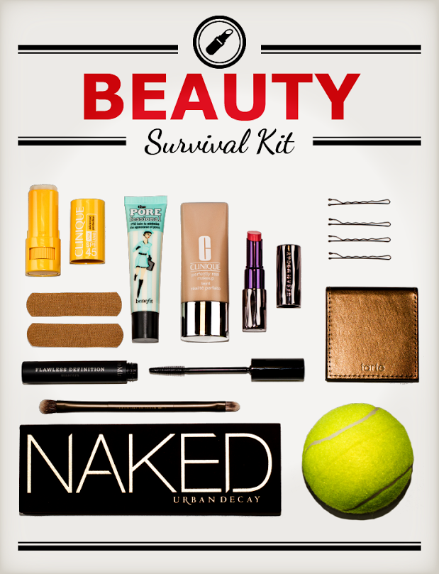 Infographic Flat Lay - Beauty Survival Kit